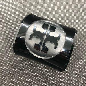 Large Tory Burch black logo cuff bracelet
